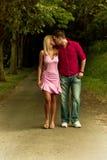 Het lopen en het kussen Stock Afbeelding