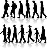 Het lopen het vectorwerk van Mensen Stock Afbeelding