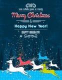 Het lopen Kerstmisdeers in het blauwe bos en tekstbericht, ve Stock Foto's
