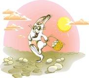Het lopen konijn met eieren Stock Afbeelding