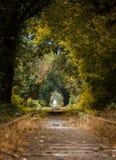 Het lopen langs een verlaten spoorweg Royalty-vrije Stock Fotografie
