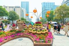 Het lopen het MaandieNieuwjaar van de straatochtend bij de stad in met bloemen langs straat worden verfraaid Stock Foto's