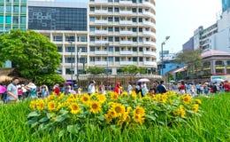 Het lopen het MaandieNieuwjaar van de straatochtend bij de stad in met bloemen langs straat worden verfraaid Royalty-vrije Stock Afbeeldingen