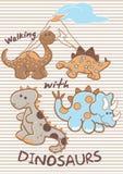 Het lopen met dinosaurussen. Royalty-vrije Stock Afbeeldingen