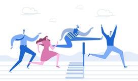 Het lopen met hindernissen Bedrijfs concept Jongeren aan de distillatie, sprong over hindernissen in werking die worden gesteld d vector illustratie