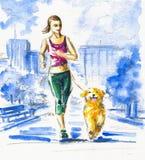 Het lopen met hond. Stock Afbeelding