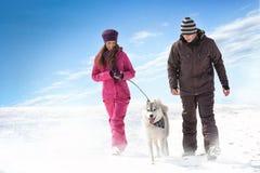 Het lopen met hond Stock Afbeeldingen