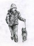 Het lopen met hond in de winter Stock Foto