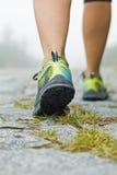 Het lopen oefening, vrouwenwandelaar in bergen Royalty-vrije Stock Foto's