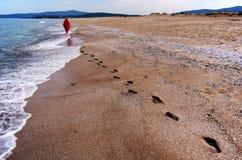 Het lopen onderaan het strand Royalty-vrije Stock Foto's