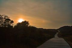 Het lopen op een lange weg in de zonsondergang in de herfst Royalty-vrije Stock Foto's