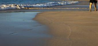 Het lopen op een strand Royalty-vrije Stock Foto's