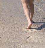 Het lopen op het strand stock afbeeldingen