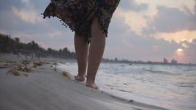 Het lopen op het strand bij zonsondergang stock video