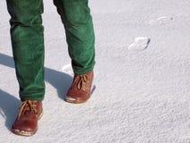Het lopen op sneeuw stock afbeeldingen