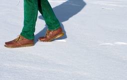 Het lopen op sneeuw royalty-vrije stock fotografie