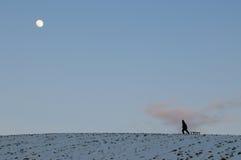Het lopen over heuvel van sneeuw met maanlicht stock fotografie