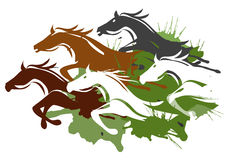 Het lopen paarden Stock Afbeelding