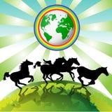 Het lopen paarden, Aarde Eco Royalty-vrije Stock Afbeeldingen