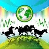 Het lopen paarden, Aarde Eco Stock Afbeelding