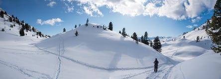 Het lopen reis in adembenemend de wintersprookjesland, Oostenrijk stock foto's