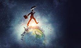 Het lopen rond de wereld Stock Foto