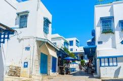 Het lopen in Sidi Bou Said Stock Fotografie