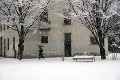 Het lopen tijdens een sneeuwval Stock Fotografie
