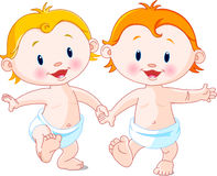 Het lopen van babys Stock Foto's