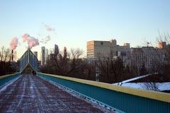 Het lopen van brug in Moskou Stock Fotografie