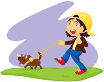 Het lopen van de hond vector illustratie