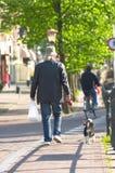 Het lopen van de mens hond royalty-vrije stock afbeelding