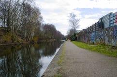 Het lopen van de slepenweg van het kanaal van Birmingham stock foto