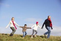Het Lopen van grootouders en van Kleinkinderen Royalty-vrije Stock Afbeeldingen