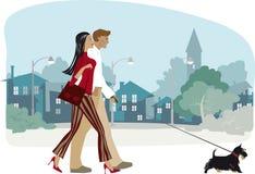 Het lopen van het paar scottie hond Royalty-vrije Stock Foto