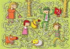 Het lopen van Honden in het Spel van het Labyrint van het Park stock illustratie