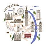Het lopen van Londen kaart Royalty-vrije Stock Fotografie
