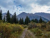 Het lopen van weg aan de bergkloof stock foto's