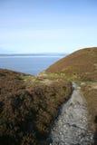 Het lopen van weg die tot kust leidt Stock Foto