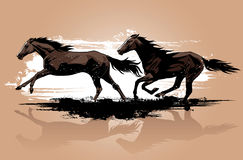 Het lopen van wild paarden stock illustratie