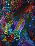 Het lopen vrouw het abstracte schilderen op canvas Stock Foto's