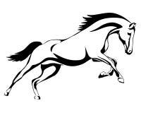 Het lopen zwart lijnpaard Royalty-vrije Stock Foto