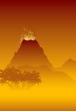 Het losbarsten van de vulkaan Stock Foto