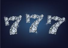 Het het lottoetiket van het potcasino maakte heel wat diamanten op donkere achtergrond stock illustratie