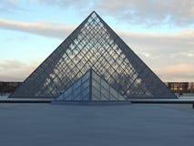 Het Louvrepiramide Pei van Frankrijk Parijs Royalty-vrije Stock Afbeelding