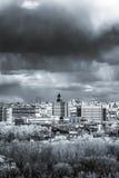 Het lucht brede panorama van Moskou: Stad, hightowers van Stalin, wolkenkrabber royalty-vrije stock afbeelding