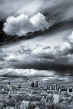 Het lucht brede panorama van Moskou: Stad, hightowers van Stalin, wolkenkrabber royalty-vrije stock afbeeldingen
