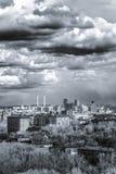 Het lucht brede panorama van Moskou: Stad, hightowers van Stalin, wolkenkrabber royalty-vrije stock foto