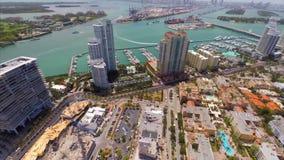 Het lucht panoramische videostrand van Miami stock videobeelden