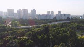 Het luchtbosje van de meningsboom in Tuinen door de Baai en Marina Bay Sands in Singapore schot Hoogste mening van het Park in Si stock footage